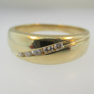 14k Yellow Gold Men's Ring Band with Diamond Accents Size 10 3/4