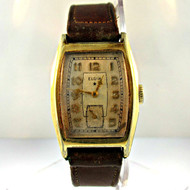 Vintage Elgin National Watch Co. 17 Jewels Gold Filled with Leather Band Watch (3006171CB)