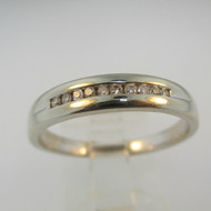 10k White Gold Band with Diamond Accents Size 10 1/4
