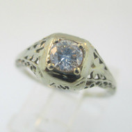 Vintage Art Nouveau 18k White Gold Approx .25ct European Cut Filigree Diamond Ring Size 4