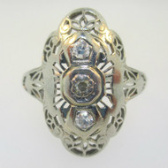 Vintage Art Nouveau 18k White Gold Three European Cut Diamonds Filigree Ring Size 4.5