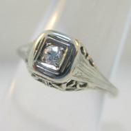 Vintage Art Nouveau 18k White Gold Approx .05ct Round Cut Filigree Diamond Ring Size 5.5