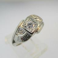 14k White Gold Approx .22ct Round Brilliant Cut Diamond Ring Size 6 1/4