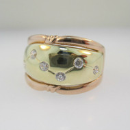 14k Rose Gold Ring with Yellow Gold and  Round Brilliant Cut Diamond Accents Size 7 1/2