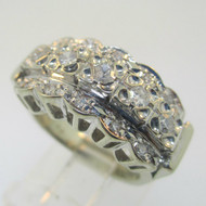 Vintage Art Nouveau 18k White Gold Approx .75ct Filigree Diamond Cluster Ring Size 4.25