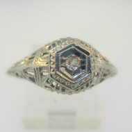 Vintage Art Deco 14k White Gold Diamond Filigree Ring Size 6.5