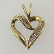 14k Yellow Gold Approx .50ct TW Heart Shaped Pendant
