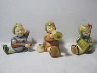 3 Joyous Angels Playing Musical Instruments Candle Holders Vtg.