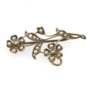 9k Yellow Gold Victorian Flower Stem Brooch Pendant with Original Seed Pearls