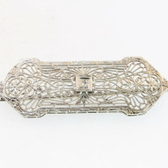 Antique 10k White Gold Art Nouveau Filigree Bar Brooch Pin with Diamond Accents
