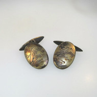 Vintage Silver Large Oval Detailed Etched Mountain Scene Mens Cufflinks Unsigned