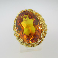 18k Yellow Gold Created Yellow Sapphire Ring with Netting Accents Size 6
