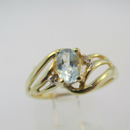 10k Yellow Gold Oval Cut Blue Aquamarine Ring with 2 Diamond Accents Size 7