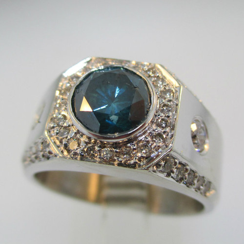14k White Gold Approx 1.0ct Blue Diamond Ring with Diamond Accents Size 10 1/4