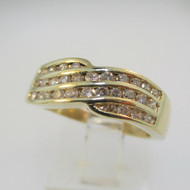14k Yellow Gold Round Brilliant Cut Diamond Accent Fashion Ring Size 6 1/4