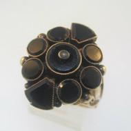Vintage Antique 10k Rose Gold Black Onyx Georgian Ring Size 8.5