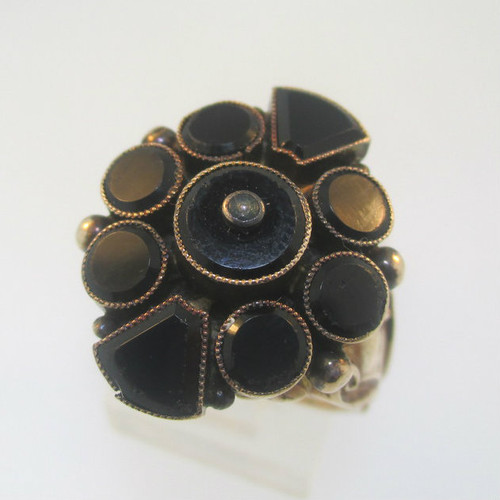 Vintage Antique 10k Rose Gold Black Onyx Georgian Ring Size 8.5