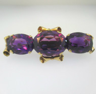 Vintage Antique Victorian 18k Yellow Gold Purple Amethyst Pin Brooch or Slide Pendant