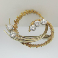 14k Yellow Gold Two Tone Diamond Approx .78ct/TW Pin Brooch