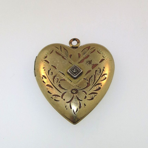 Vintage Gold Tone Clear Stone Watch Fob Heart Locket Empty Unsigned Engraved AP