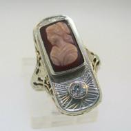 Vintage Art Nouveau 14k White Gold Cameo Filigree Diamond Approx .10ct Ring Size 3.5