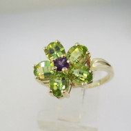 10k Yellow Gold Green Peridot and Purple Amethyst Flower Ring Size 7