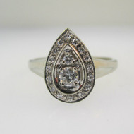 14k Yellow Gold Approx .37ct Round Brilliant Cut Diamond with Diamond Accents in Pear Shape Mount Size 9 1/2