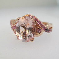 10k Rose Gold Pink Quartz and Pink Topaz Accents Ring Size 6 1/4
