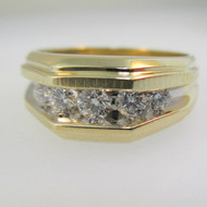 14k Yellow Gold Approx .50ct TW Round Brilliant Cut Diamond Men's Band Ring Size 10