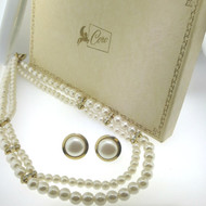 Vintage Gold Tone Unsigned Faux Pearl Strand Necklace & N-P Earrings in Coro Box