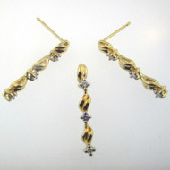 14k Yellow Gold Blue Sapphire with Diamond Accents Necklace Earring and Pendant Set