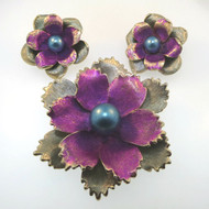 Vtg Gold Tone Kramer Flower Brooch Pin & Earrings Colored Purple Blue Faux Pearl