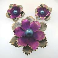 Vtg Gold Tone Kramer Flower Brooch Pin & Earrings Colored Purple Blue Faux Pearl