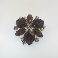 Vtg Gold Tone Unsigned Brooch Pin Purple A. Borealis Stones Made in West Germany