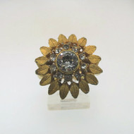 Vtg Gold Tone Clear CZ Stone McGrath-Hamin Sunflower Cocktail Ring Expandable Sz