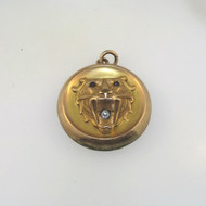 Vtg Gld Fill Signed Art Deco Style Lions Head Watch Fob Locket Engraved Skulfred