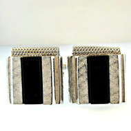 Vintage Dante Silver Tone and Black Onyx Cufflinks (300.1760A CB)