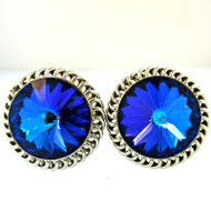 Vintage Silver Tone with Multi Colored Gemstone Cufflinks (300.1760F CB)