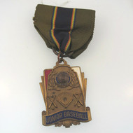 Vtg American Legion Gold Tone Junior Baseball Champion Pin Medal Marked H.J. Co