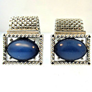 Vintage Swank Silver Tone with Created Blue Gemstone Cufflinks (300.1760I CB)