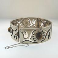 Vtg Sterling Link Bangle Bracelet w Safety Chain Cutout Design Tigers Eye Stones