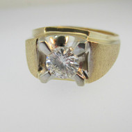 14k Yellow Gold Approx .90ct Round Brilliant Cut Diamond Ring Band Brush Finish Size 10 1/2