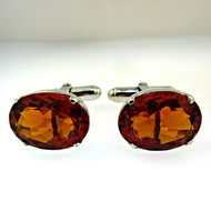 Vintage Sterling Silver and Created Orange Stone Cufflinks (300.1770F CB)
