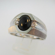 10k White Gold Black Onyx Men's Ring with Diamond Accents on Band Size 10 1/2