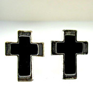 Vintage Silver Tone with Black Enamel Cross Cufflinks (300.1770E CB)