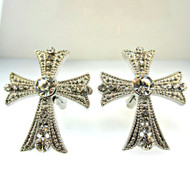 Vintage Silver Tone with Cubic Zirconias Cross Cufflinks (300.1770G CB)