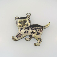 Vintage Gold Tone Sterling Modernist Enamel Kitten Pendant Fish Cutout Unsigned