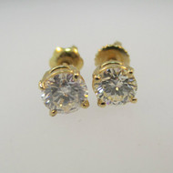14k Yellow Gold Approx .95ct TW Round Brilliant Cut Diamond Stud Earrings with Screw Backs