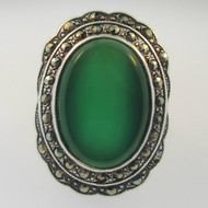 Sterling Silver Oval Marcasite Green Chalcedony Ring Size 5.25
