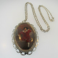 Vintage Silver The Red Boy Portrait Sir Thomas Lawrence Necklace